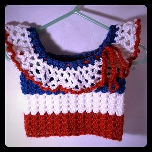 4th of July Handmade crochet baby girl top